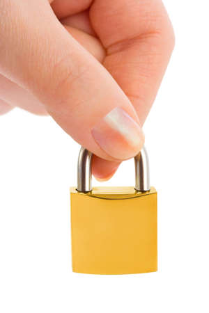 Hand and lock isolated on white background photo