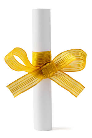 Paper scroll and gold bow isolated on white background Stock Photo