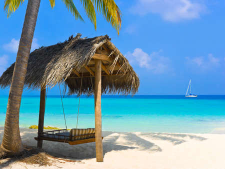 Swing on a tropical beach - vacation background photo