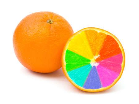 Multicolored orange fruits isolated on white background photo