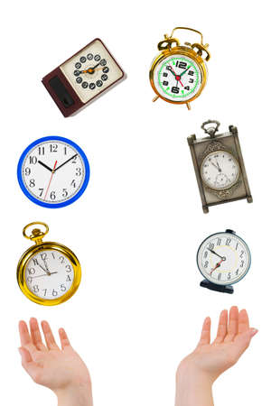 Juggling hands and clocks isolated on white background Stock Photo