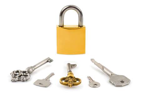 Lock and keys isolated on white background Stock Photo - 4982415