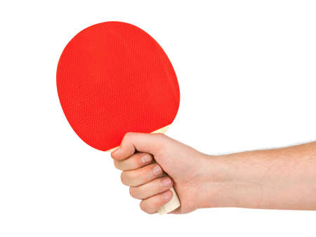 Hand with tennis racket isolated on white background photo