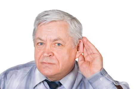 audition: Człowiek w słuchaniu stwarzać wyizolowanych na białym tle