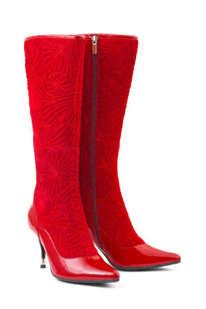 Red woman boots isolated on white background photo