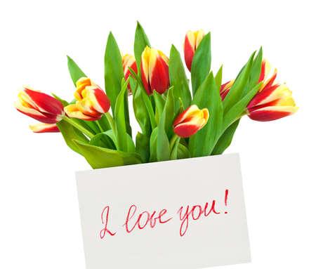te amo: Tarjeta y flores aisladas sobre fondo blanco