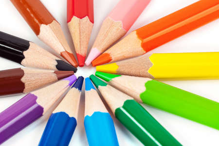 Macro of multicolored pencils - abstract art background Stock Photo - 5050489