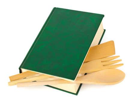 encyclopedias: Libro de recetas y utensilios de cocina aislados sobre fondo blanco