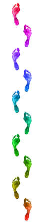 footprint: Multicolored footprints isolated on whine background