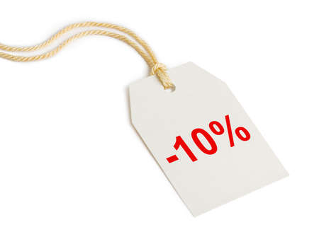 Label discount 10% isolated on white background