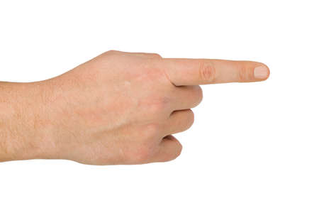 right handed: Pointing hand isolated on white background Stock Photo