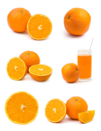 Set of orange fruits isolated on white background Stock Photo - 5151707