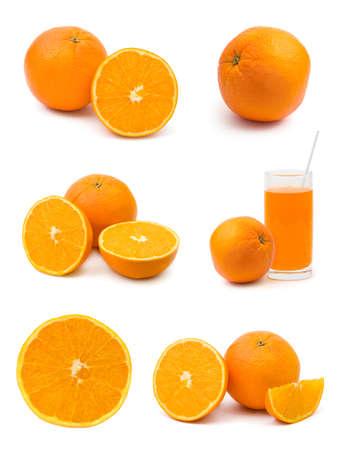 Set of orange fruits isolated on white background photo