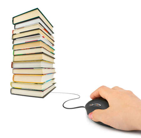 Hand with computer mouse and books - e-learning concept photo