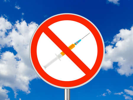 Circle sign No drugs - sky on background Stock Photo - 5164628
