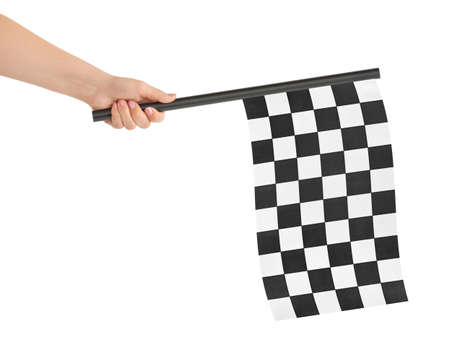 starting: Checkered flag in hand isolated on white background