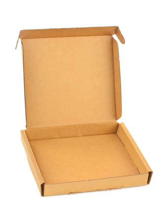 food distribution: Empty cardboard box isolated on white background