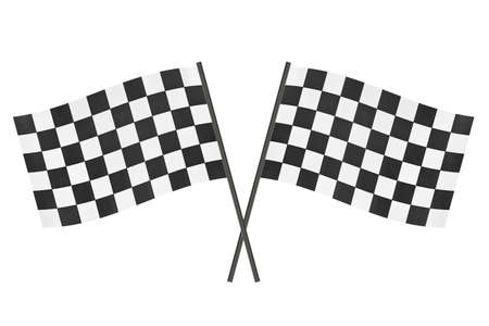 Checkered finish flags isolated on white background