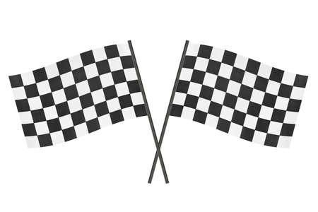 startpunt: Geruit finish vlaggen geïsoleerd op witte achtergrond Stockfoto