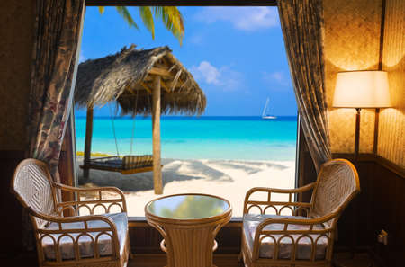 Hotel room and tropical landscape - vacation concept background Stock Photo - 5299988