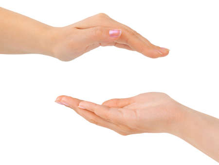 hand holding house: Cupped hands isolated on white background Stock Photo