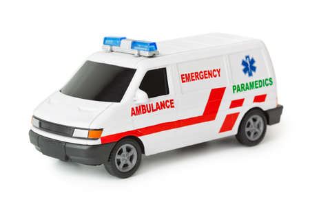Toy ambulance car isolated on white background photo