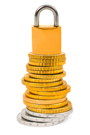 Stack of coins and lock isolated on white background Stock Photo - 5347995
