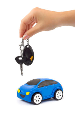 hire: Hand with key and car isolated on white background Stock Photo