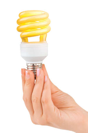 Hand with lighting lamp isolated on white background photo