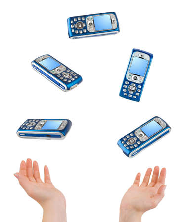 Juggling hands and phones isolated on white background photo