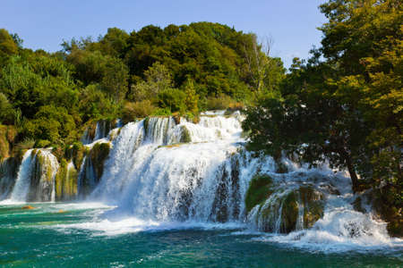 plitvice: Waterfall in Croatia -  nature travel background