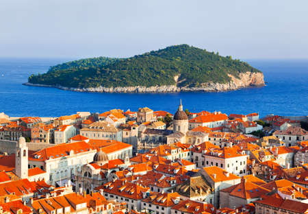 abstact: Town Dubrovnik and island in Croatia - abstact travel background Stock Photo