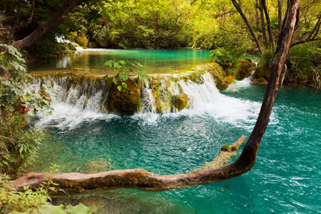 waterfall with sky: Plitvice lakes in Croatia - nature travel background