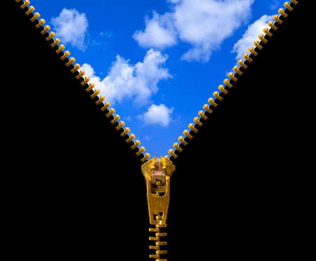 Zipper and sky isolated on black background photo