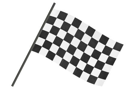 Checkered finish flag isolated on white background photo