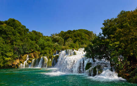 Waterfall KRKA in Croatia - nature travel background Stock Photo - 5545329