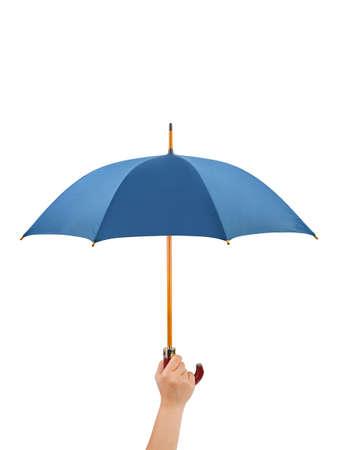 Hand with umbrella isolated on white background photo