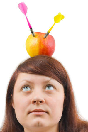 Woman and apple with arrows isolated on white background photo