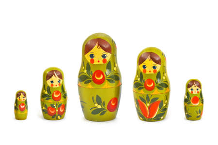Russian toy matrioska isolated on white background photo
