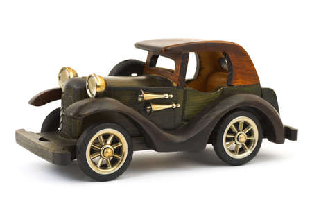 Wooden toy retro car isolated on white background Stock Photo - 5624192