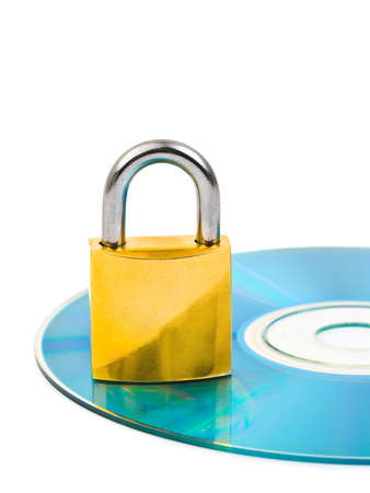Computer disk and lock isolated on white background photo