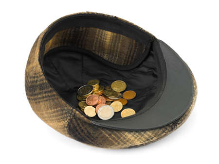 beggary: Cap with money isolated on white background Stock Photo