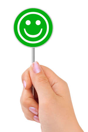 Smile sign in hand isolated on white background Stock Photo - 5643741