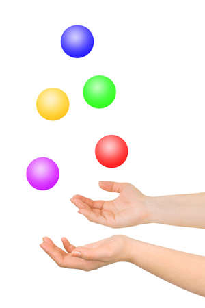 group of colourful ball: Juggling hands isolated on white background