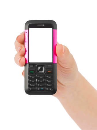 Hand giving mobile phone isolated on white background photo