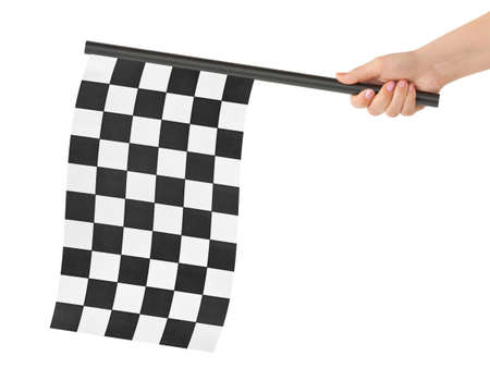 starting line: Checkered flag in hand isolated on white background