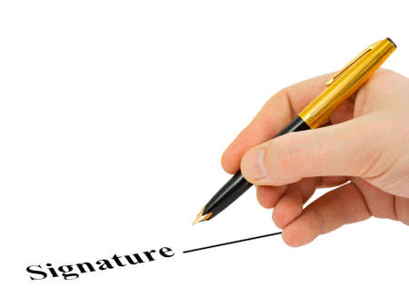 Hand with pen and contract isolated on white background photo
