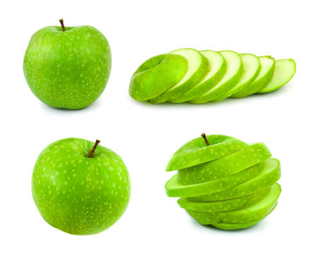 Set of green apples isolated on white background photo