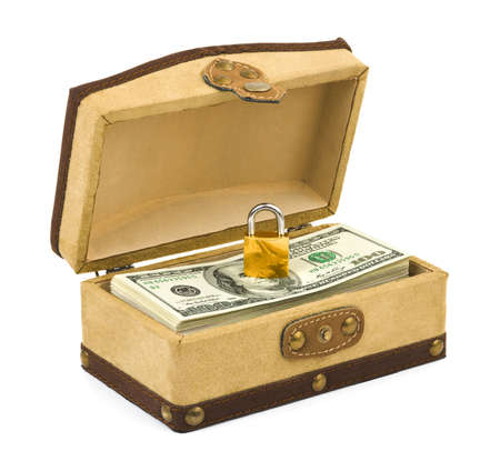 Money and lock in box isolated on white background Stock Photo - 5744974