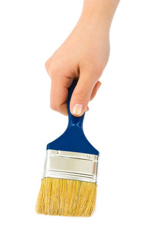 Hand with brush isolated on white background Stock Photo - 5744975